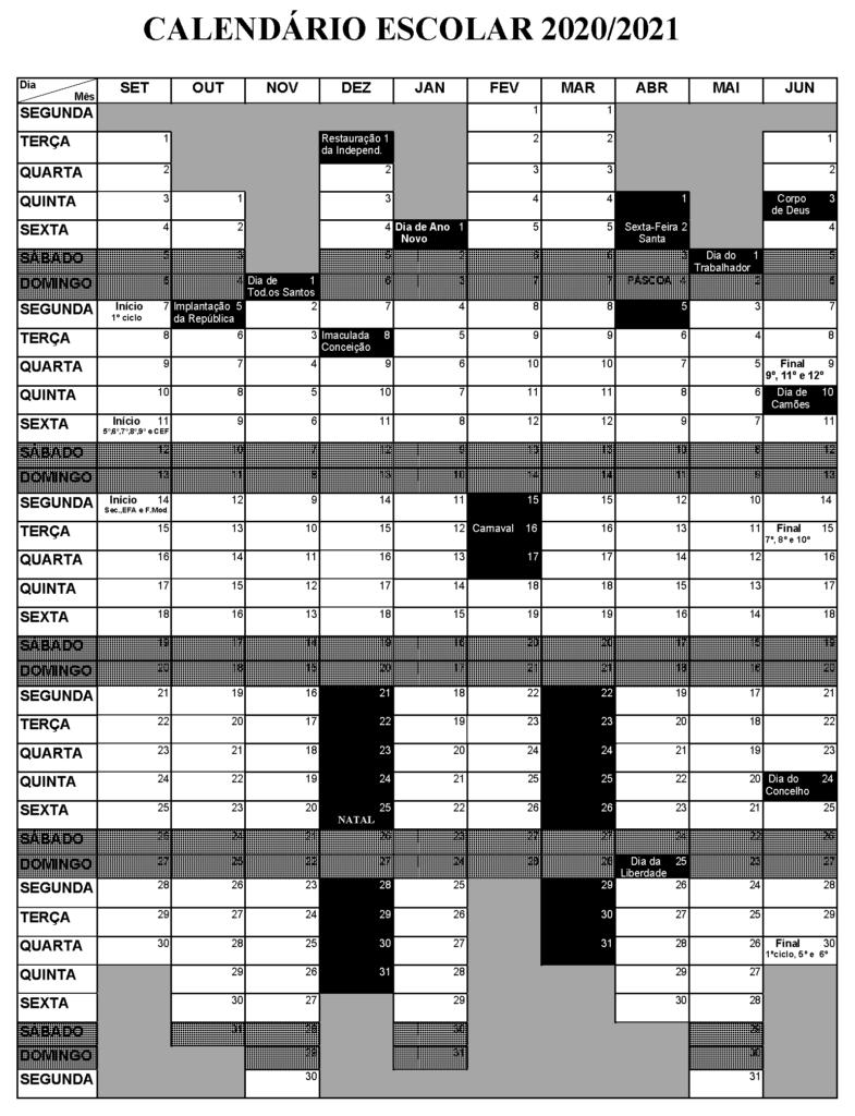 Calendário escolar 2020-2021