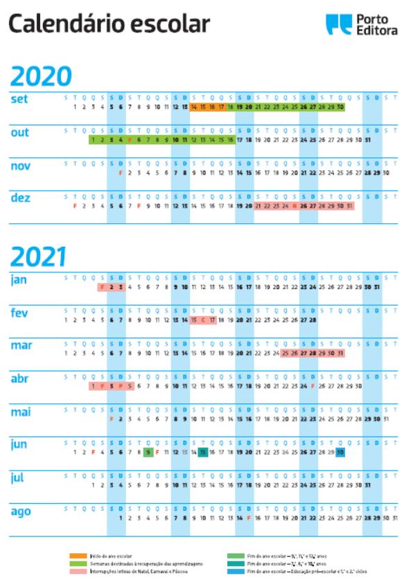Calendário escolar 2020-2021 porto editora