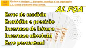 Exatidão e precisão | Incerteza de leitura | Incerteza absoluta | Erro percentual | AL FQA
