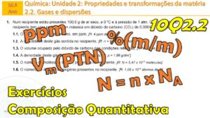 Conversão %(m/m) em ppm | densidade de um gás | número de moléculas | Ex. 1 Q2.2 n.º 4