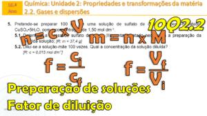 Qual a massa para preparar uma solução? O que é o fator de diluição? Ficha 10Q2.2 n º 4 - ex. 5