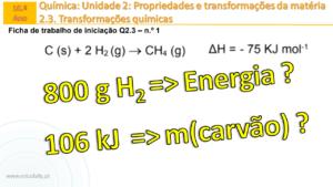 Qual é a energia libertada quando se consomem 800 g de hidrogénio? | FQ2.3 n.º 1 ex. 12